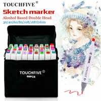 TouchFIVE 30/40/60/80 di Colore Marcatori Manga Disegno Marcatori Penna A Base di Alcool Schizzo Grassa Doppia Spazzola di Arte Della Penna forniture