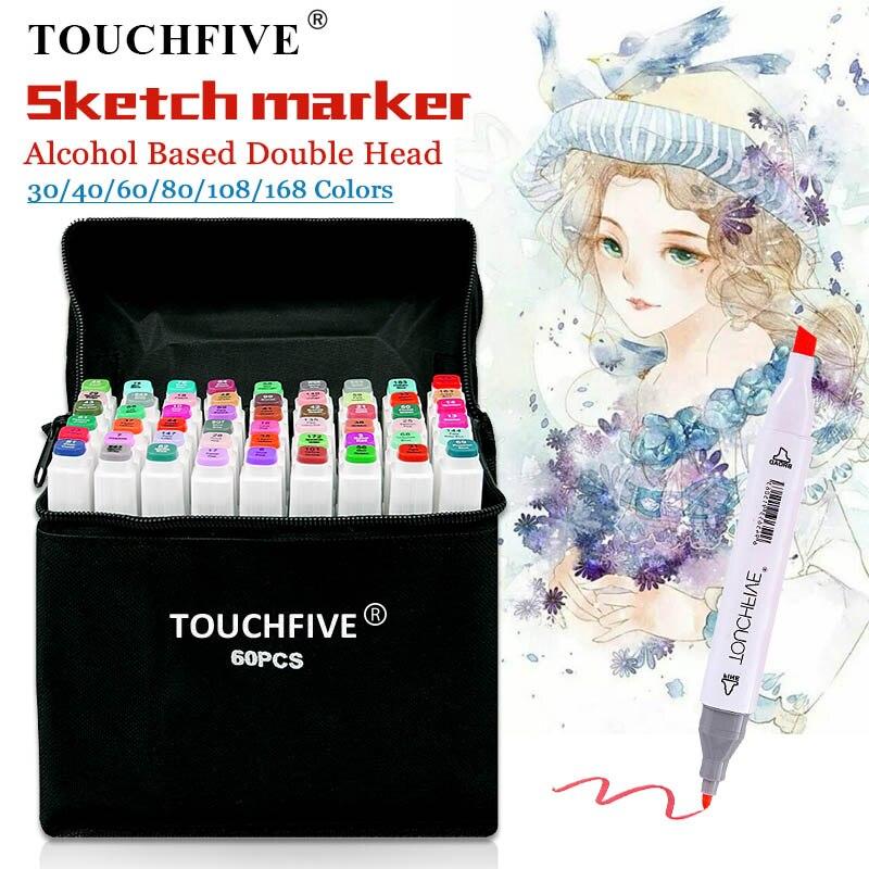 TouchFIVE 30/40/60/80 marcadores de colores Manga, marcadores de dibujo, bolígrafo de dibujo a base de Alcohol, punta de fieltro, pincel doble aceitoso, suministros de arte