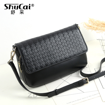 SHUCAI 100% Genuine Leather Women Messenger Purse  Fashion Lady Shoulder Bag Ladies Crossbody Bags