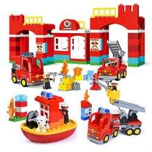 Diy cidade bombeiros estação de bombeiros blocos de construção compatível duploed tamanho grande tijolos brinquedos para crianças do bebê presentes