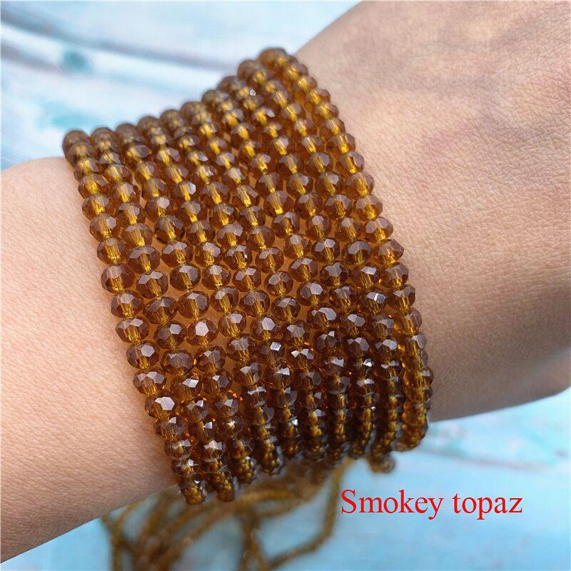 40 цветов 1 нить 2X3 мм/3X4 мм/4X6 мм хрустальные бусины rondelle хрустальные бусины стеклянные бусины для самостоятельного изготовления ювелирных изделий - Цвет: Smokey Topaz