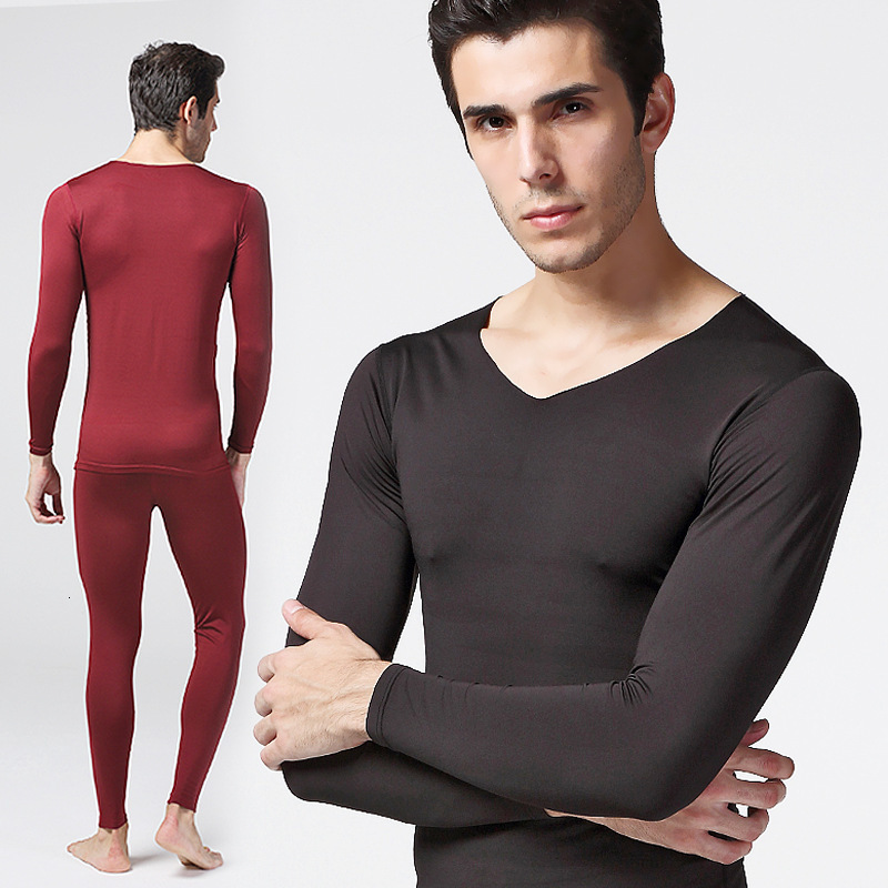 Thick Warm Thermal Underwear For Men V Neck Solid Underwear Set Male Soft Thermal Clothing Winter Suit Wear Long Johns Men