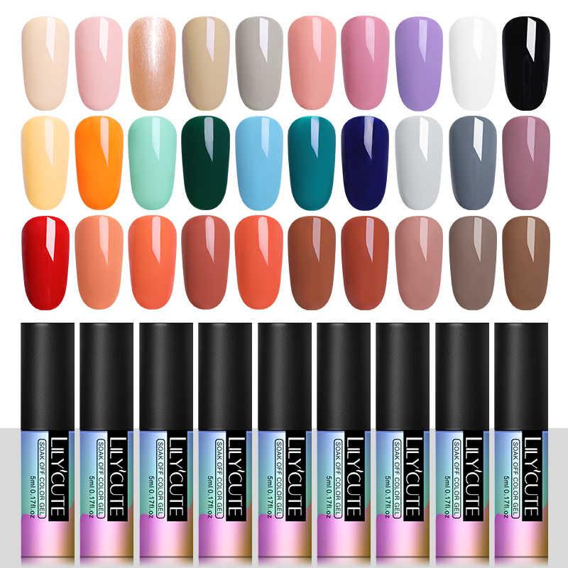 LILYCUTE vernis à ongles 5ml imbiber UV LED vernis Gel longue durée noir blanc gris couleur de Base vernis à ongles longue durée