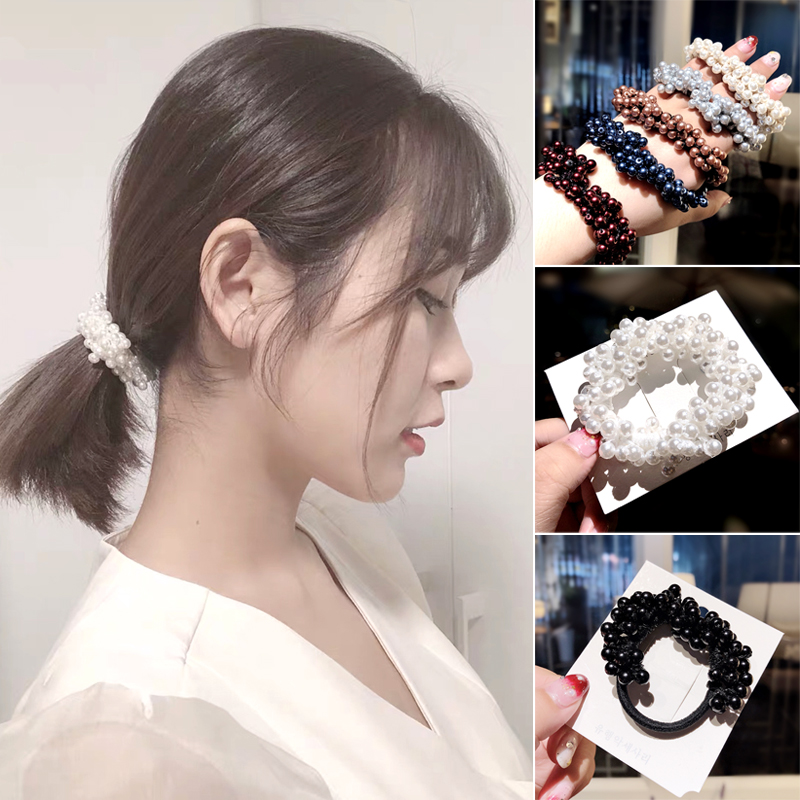 Fashion Women Girls Colorful Beautiful Pearl Elastic Hair Bands Rubber Band Ponytail Holder Scrunchies Headband Hair Accessories