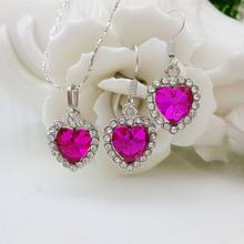 2019 new jewelry wholesale sterling silver necklace earrings, 925 sterling silver jewelry love crystal purple red suit S0152(China)