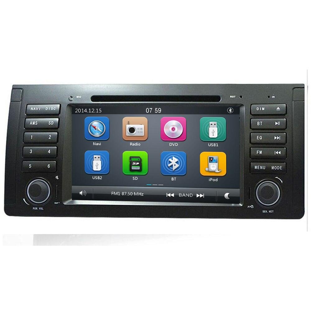 Joli lecteur DVD de voiture UI 2 din pour bmw e53 E39 X5 avec GPS BT Radio USB SD commande au volant Canbus carte GPS gratuite