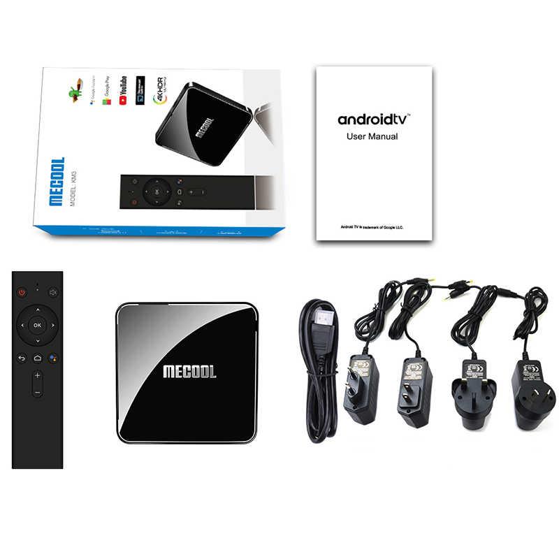 MECOOL KM3 ATV أندرويد 9.0 صندوق التلفزيون 4GB 64GB 128GB Amlogic S905X2 4K 5G ثنائي واي فاي تعيين صندوق علوي مشغل الوسائط الذكية
