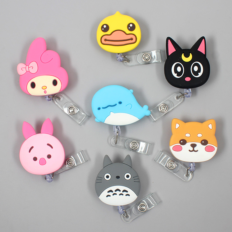 Creative Blue Mouse Animal Retractable Plastic Badge Holder Reel Exhibition ID Enfermera BoyName Card Hospital Office Chest Card