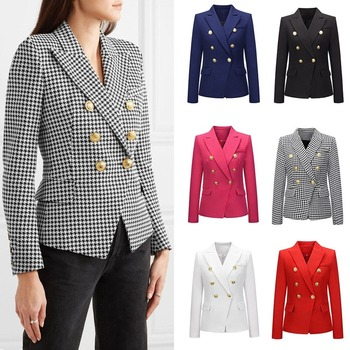 2020 Spring and Summer Fashion New Women's Small Suit Casual Long-Sleeved Slim Houndstooth Suit Jacket Women brieuces spring and summer women s beaded small suit slim suit jacket short women s shirt fashion long sleeved jacket