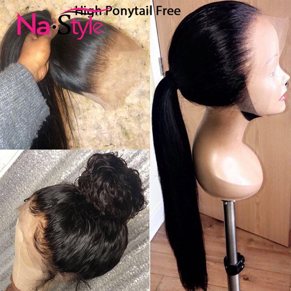 HD прозрачные кружевные парики предварительно 360 Синтетические волосы на кружеве al парик Невидимый Синтетические волосы на кружеве парики 13x6 Синтетические волосы на кружеве парики человеческих волос Remy - 5