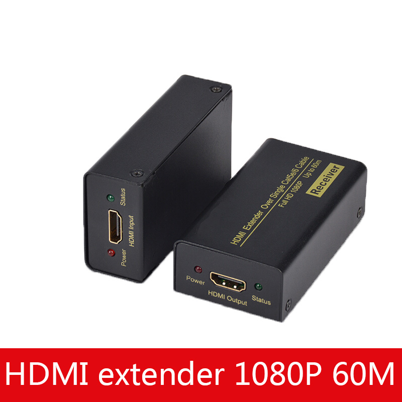 HDMI Extender 60 Meters Hdmi To RJ45 Single Network Cable Network Transmission Signal Amplifier 60 Meters Computer Connected