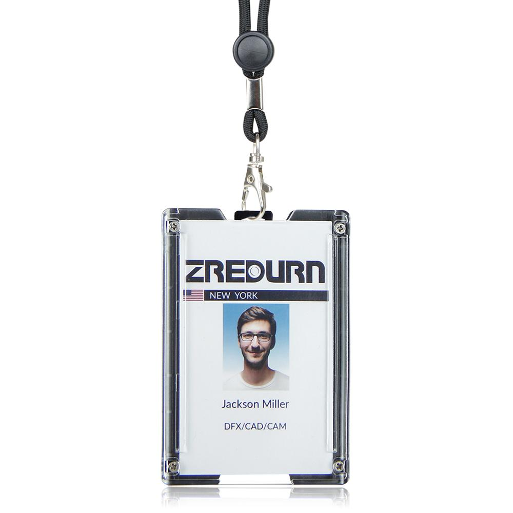 Zayex Badge Holder Wallet Durable ID Card Holder With Lanyard  Clip For Offices, School,Driver Licence, Holds 1-4 Cards
