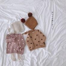 Осенне-зимний пуловер для девочек; свитера; одежда для малышей; свитера с длинными рукавами и объемными помпонами для малышей; детская вязаная одежда; От 1 до 5 лет