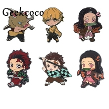 J1210 Geekcoco Anime kimetsu no yaiba  Pin Brooches Girls Badges Lapel Pins Funny Jewelry Pins Collection j1221 geekcoco cartoon cat animals pin brooches anime doraemon badges lapel pins funny jewelry pins collection