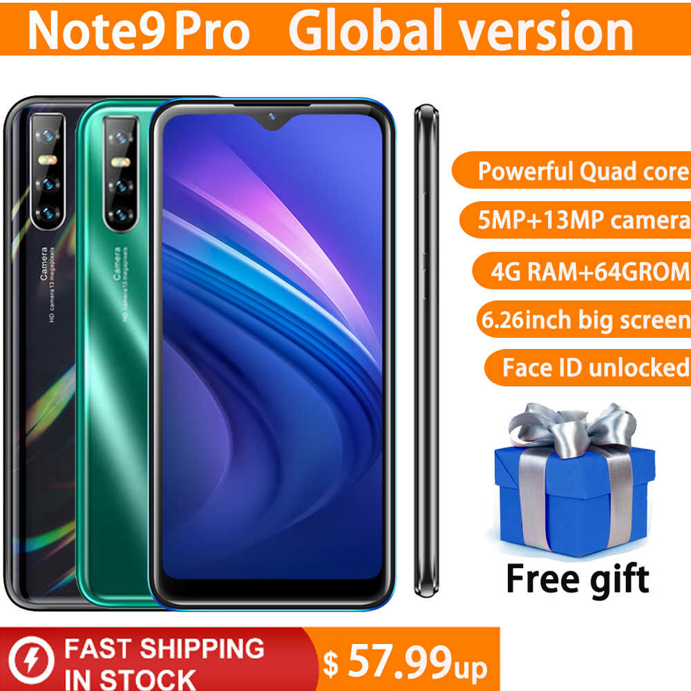"Note9 Pro 4G RAM 64G ROM MTK6580 Quad core handys Android 13MP gesicht ID 6.26 ""wasser drop screen Globale version smartphones"