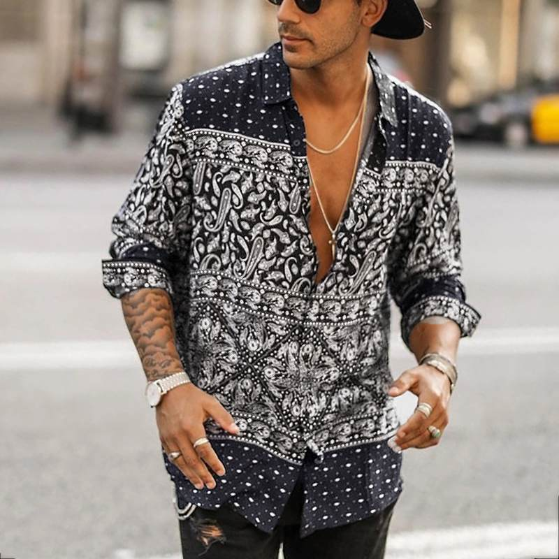 INCERUN 2020 Ethnic Style Printed Shirt Men Lapel Collar Button High Street Blouse Long Sleeve Vintage Mens Brand Casual Shirts