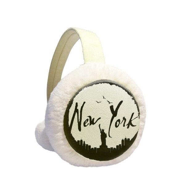 New York USA Liberty Silhouette Winter Earmuffs Ear Warmers Faux Fur Foldable Plush Outdoor Gift