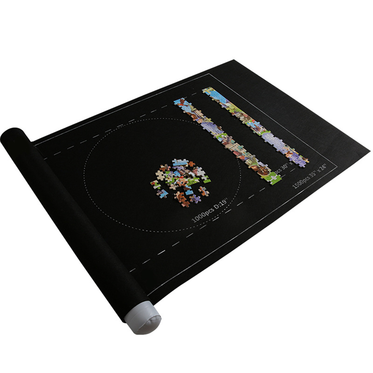 <font><b>Puzzles</b></font> Mat <font><b>Jigsaw</b></font> Roll Felt Mat Play Mat Large For Up To <font><b>1500</b></font> <font><b>Pieces</b></font> <font><b>Puzzle</b></font> Accessories Portable Travel Storage Bag image