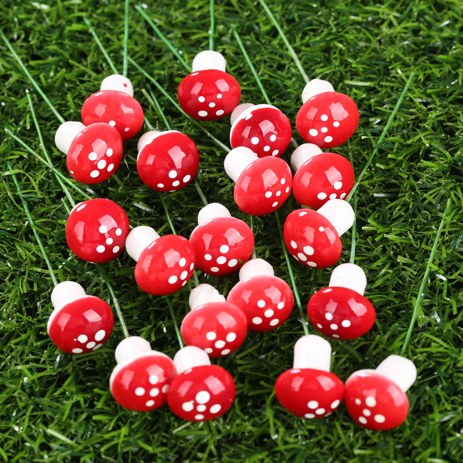20Pcs Red Multi-colored Foam Mushrooms Miniatures For Fairy Garden DIY Bottle Landscape Decorative Mushroom Figure Decorative
