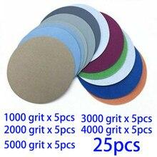 25 pçs gancho e loop almofada de lixamento 3 Polegada 1000 2000 3000 4000 5000 grão areia discos lixamento papel para polimento ferramentas limpeza roda