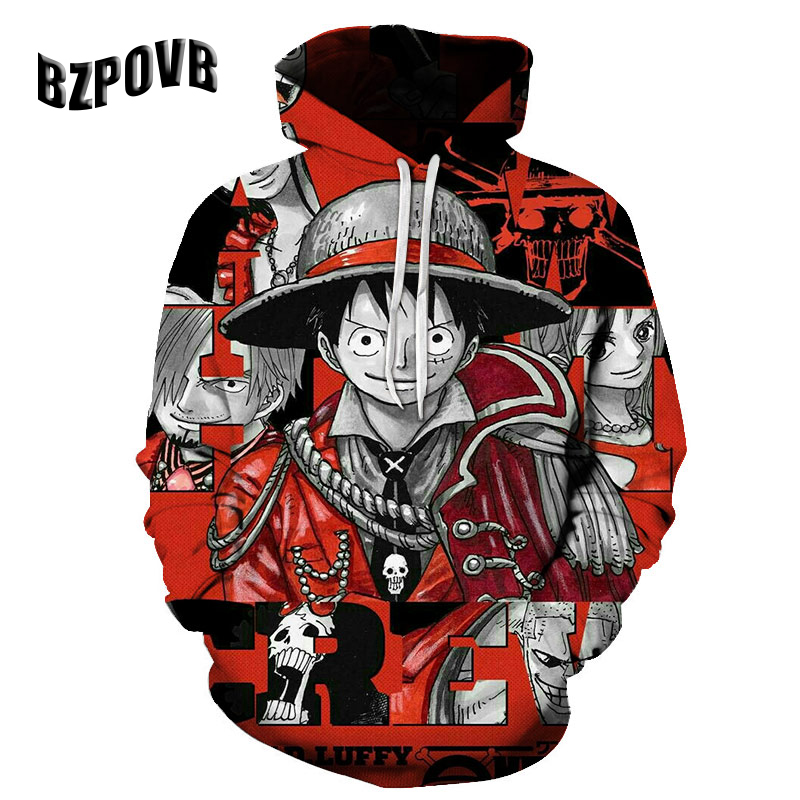 Cloudstyle Anime 3D Hoodies Men Clothes 2018 Sweatshirts One Piece Luffy Print Pullovers Harajuku Tops Streetwear Asian Size