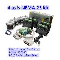 CNC Router Seti 4 Eksen  4 adet TB6600 4A step motor sürücü + Nema23 motor 57HS5630A4 + 5 eksen arayüz kartı + güç kaynağı|Motor Sürücü|   -