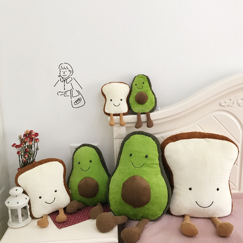 Soft Smiley Pillow Toast Bread Plush Avocado Stuffed Toy Soothing Holding Pillow Cute Female Birthday Present