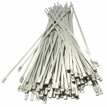 100PCS Multi-Purpose Locking Cable Metal Zip Ties 4.6x100/150mm Self-locking Stainless Steel Cable Tie Loop Wire Zip Ties Set 100pcs 3x100 3x120 3x150mm assorted self locking nylon cable ties black plastic zip tie loop wire wrap zip ties