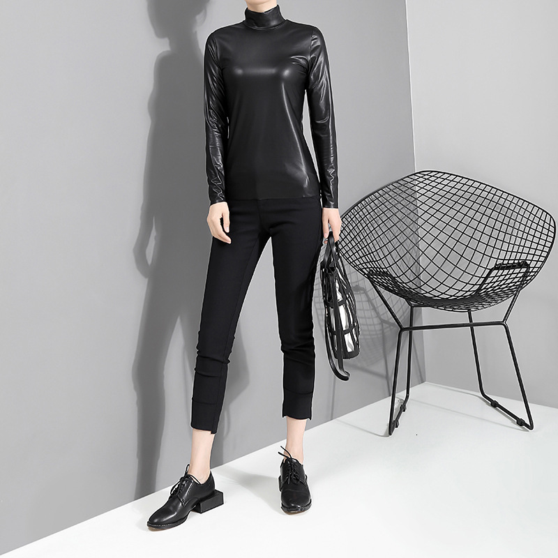 [EAM] Women Black Brief Pu Leather Temperament T-shirt New Stand Collar Long Sleeve  Fashion Tide  Spring Autumn 2020 JY93301 3