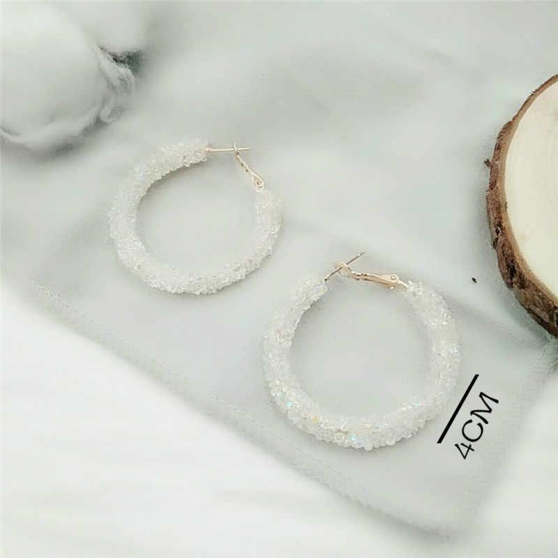 ต่างหู Charm สีชมพูสีดำสีขาว Multicolor Matte วงกลมคริสตัล Big ต่างหูแฟชั่นเครื่องประดับออกแบบใหม่