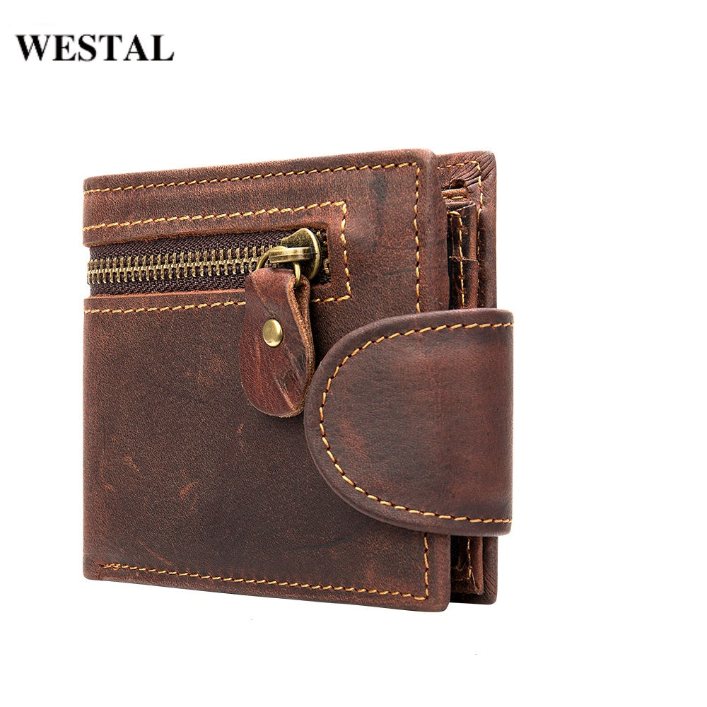 WESTAL Men's Wallet Genuine Leather Purse For Cards Small Wallets Male Coin Purse Short Leather Wallets Clutch Mens Money Bags