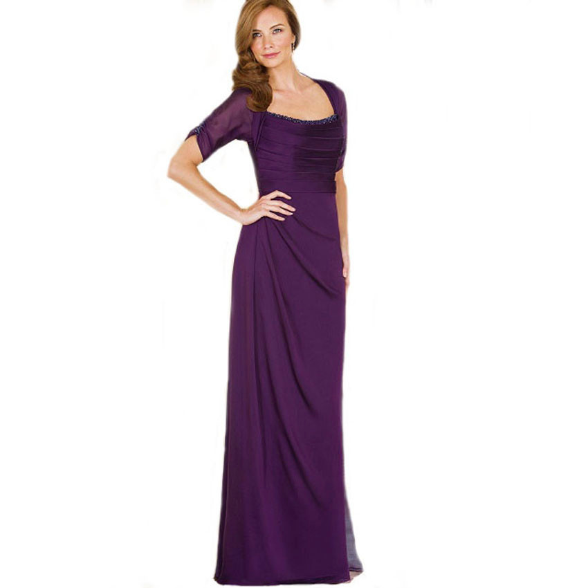 Sparking Beading Crystal Short Sleeve Purple Chiffon Mother Of The Bride Dresses Plus Size 2016 With Weddings Party Gown