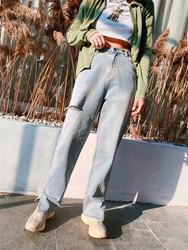Autumn and winter new wild cowboy wash high waist jeans women, street hole casual wide leg jeans women