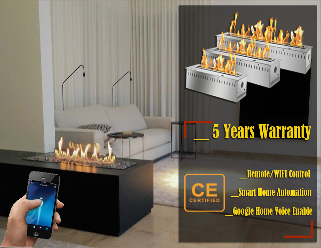 Hot Sale 36 Inches Silver Or Black Wifi Intelligent Smart Bioethanol Fireplace Insert Burner