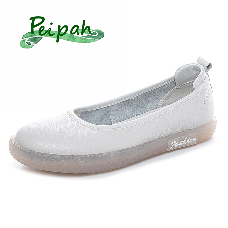 PEIPAH 2020 Brand Women's Genuine Leather Shoes Woman Slip On Ballet Flats Female Shallow Casual Solid Footwear Ladies New Shoes
