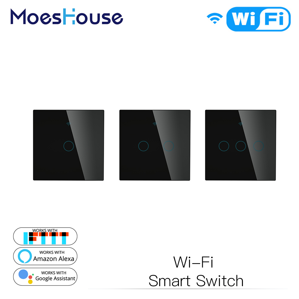 Black WiFi Smart Wall Touch Light Switch Compatible With Smart Life/Tuya Wireless Remote Control Work With Alexa Google Home