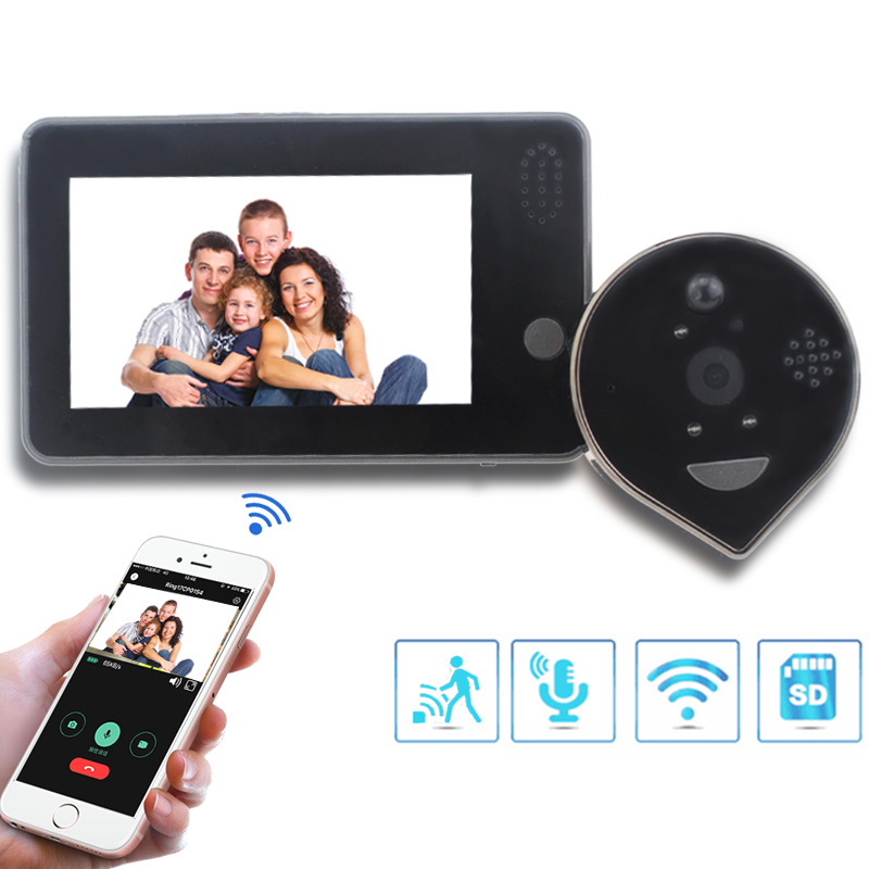 "Topvico Doorbell Camera WiFi Video Peephole Intercom Doorbell 4.3"" Motion Detection Wireless Door Viewer Video-eye Smart Ring"