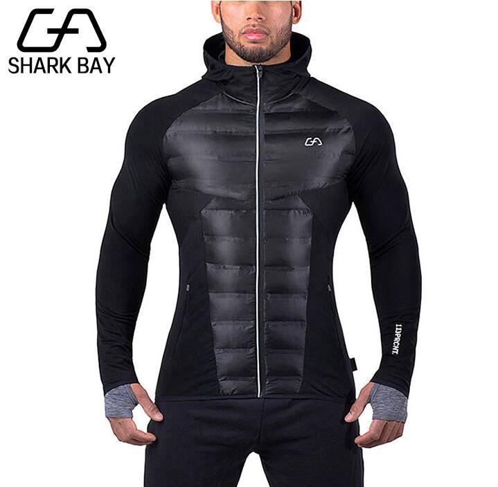 Shark Bay Brand Men Gyms Hoodies Gyms Fitness Bodybuilding Sweatshirt Pullover Sportswear Male Workout Hooded Jacket Clothing
