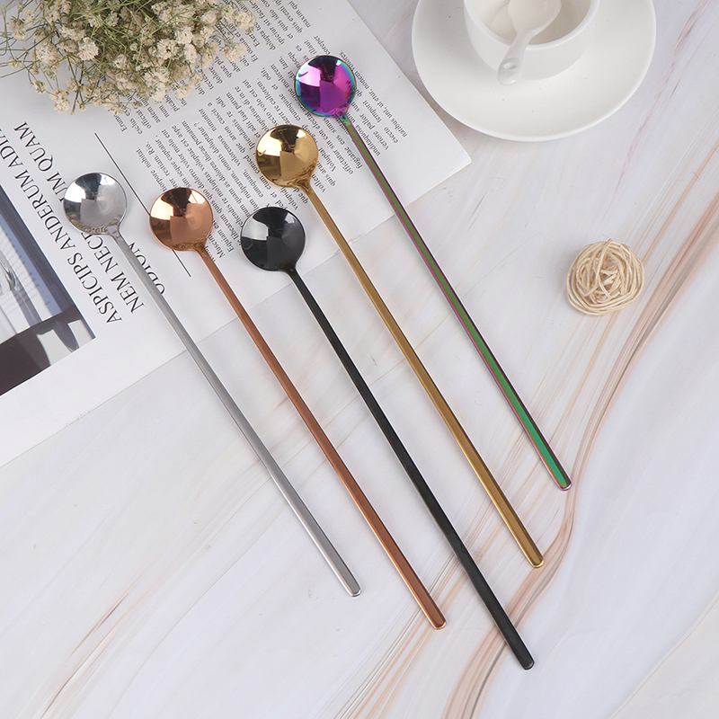 24cm Long Handled Stainless Steel Ice Cream Dessert Tea Spoon Colorful Coffee Spoon Dinnerware Flatware Kitchen Tools 1Pcs
