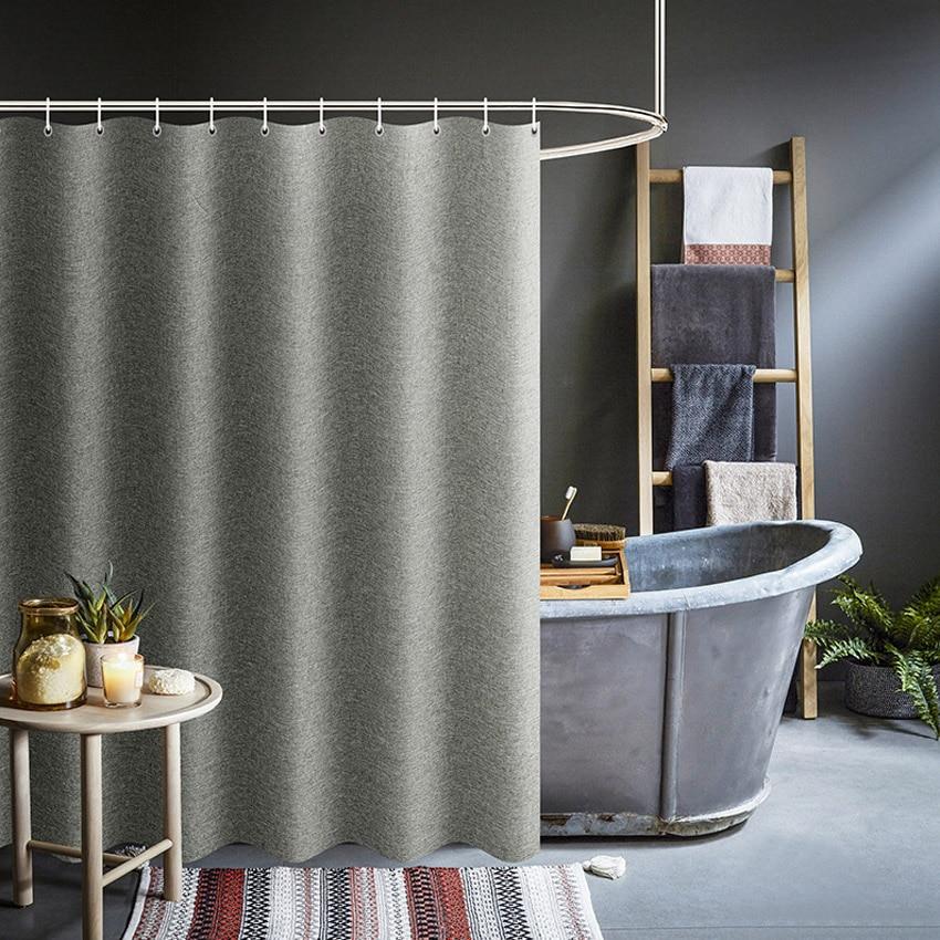 Thick Grey Shower Curtains Imitation Linen Fabric Waterproof Bath Curtains For Bathroom Bathtub Large Wide Modern Bathing Cover