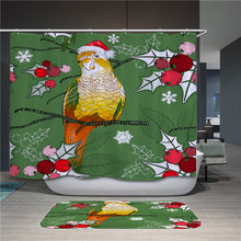 цена на Cartoon Christmas Hat Christmas Animal High Quality Polyester Fabric Shower Curtain Waterproof Hook Bathroom Shower Curtain