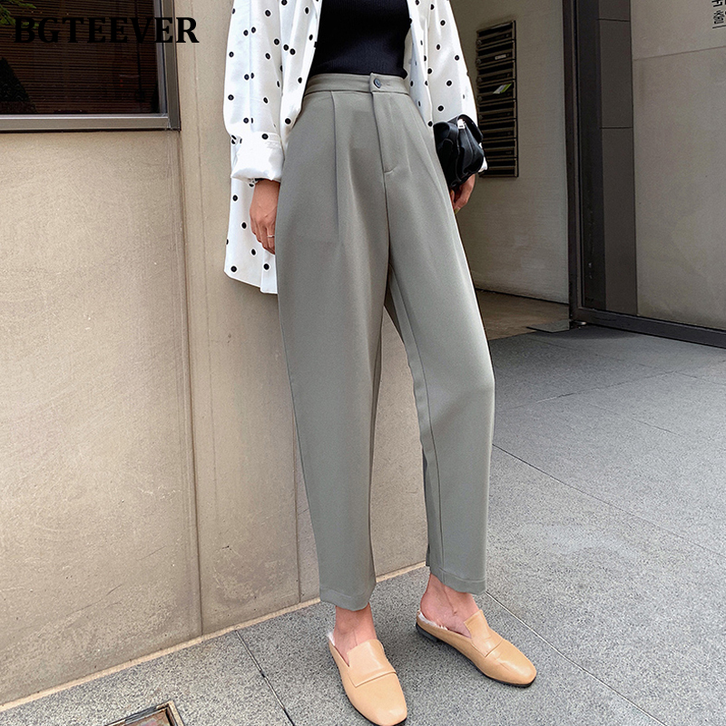 BGTEEVER Casual High Waist Harem Pants for Women 2020 Summer Button Up Loose Pants Capris Female Elegant Trousers Femme pantalon