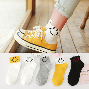 1 Pair of Cartoon Smiling Face Socks Personality Expression Womens Boat Cotton Spring and Summer
