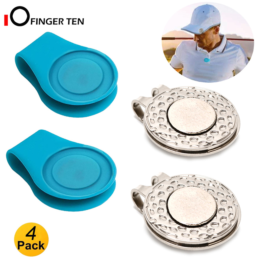 New Magnetic Golf Hat Clip 2 Silicone With 2 Metal Ball Marker Holder Attach To Your Cap Pocket Edge Belt Clothes