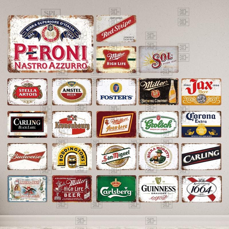Пивной знак фирменного логотипа, винтажная металлическая табличка, ретро-оловянный знак, металлическая пластина, Украшение стен, декоратив...