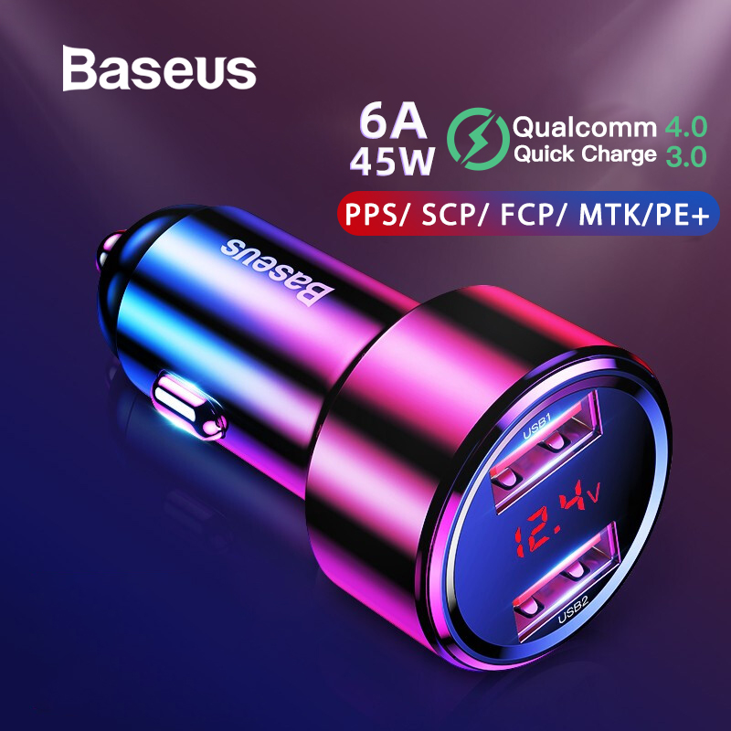 Baseus Quick Car Charger 6A 45W Dual USB Type C Charge For IPhone X 8 XS Max Xiaomi Samsung Huawei Phone Car Fast Charging
