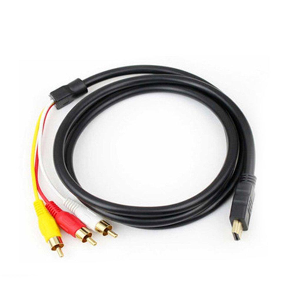 1,5 M negro HDMI-macho a 3 RCA Audio AV Cable adaptador conector Cable para HDTV 77 99 XR649 HDMI a AV HDMI a 3RCA Cable Dropship