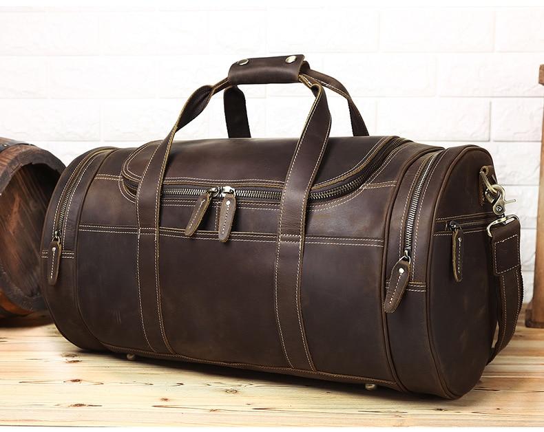 Luufan bolsa de viaje de cuero genuino para hombres bolsas de lona para viaje de negocios bolsa de fin de semana de hombre lejos de viaje bolso grande-in Bolsas de viaje from Maletas y bolsas    3