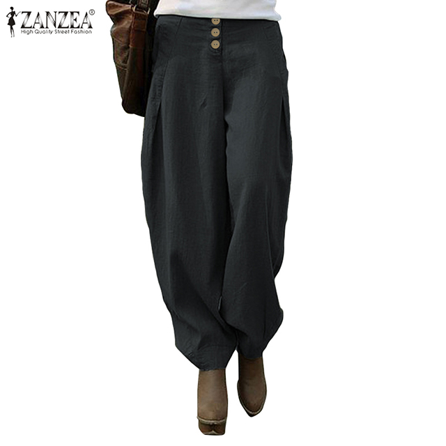 ZANZEA Women Long Pants 2020 Autumn Back Elastic Waist Trousers Casual Loose Pockets Wide Leg Bottom Streetwear Pantalones Femme