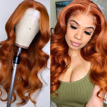 Lace-Wig Human-Hair-Wigs Orange Pre-Plucked Color Brazilian 180%Ginger Brown Bleach Wavy